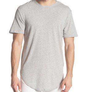 Light gray short sleeve longline scallop tee NWT